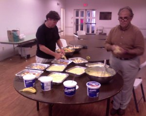 Youth and Sr. Pastor making dessert