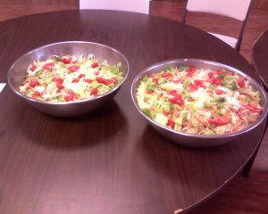 Two of the finished salads