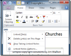 Linked Notes in OneNote 2010